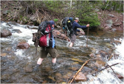 Crossing one of the creeks on the way back to the trailhead.