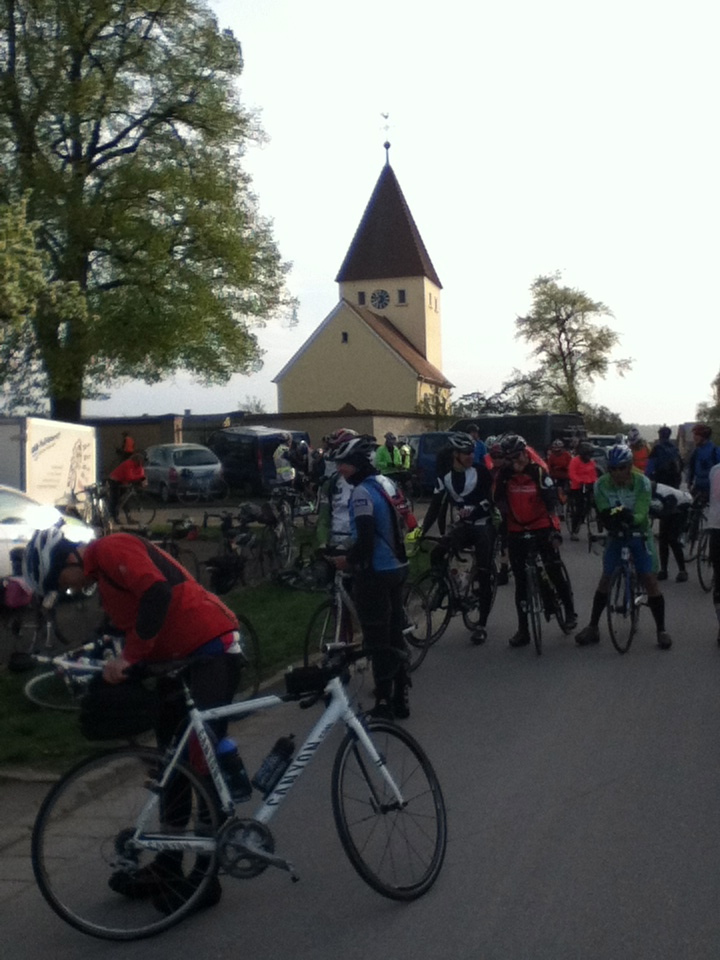 just before the start