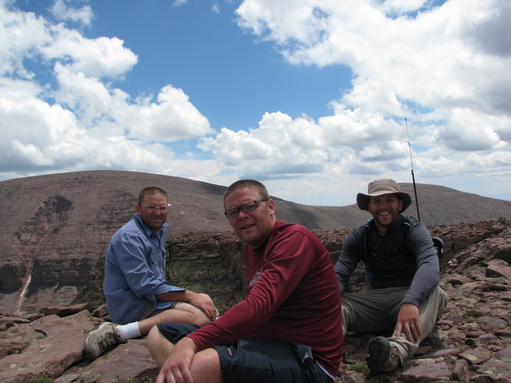 MSRH, Photoman, and Thumper on ridgeline peak to the North of Mt Emmons.