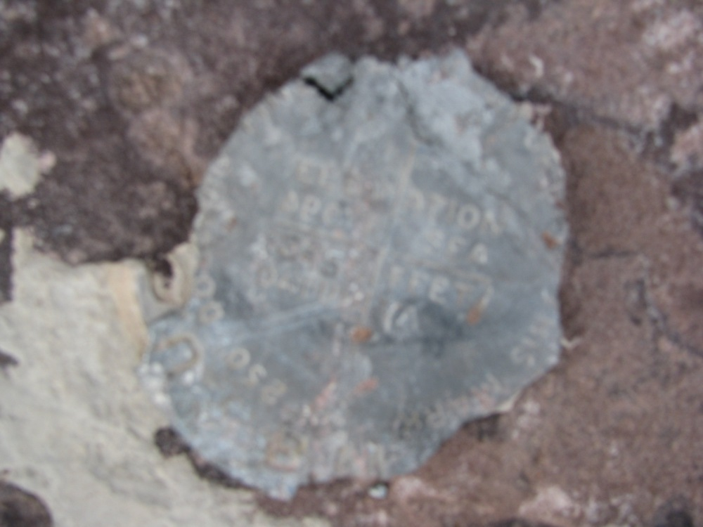 Mt. Emmons Bench Mark, Elevation 13,440 ft (4,097 m).