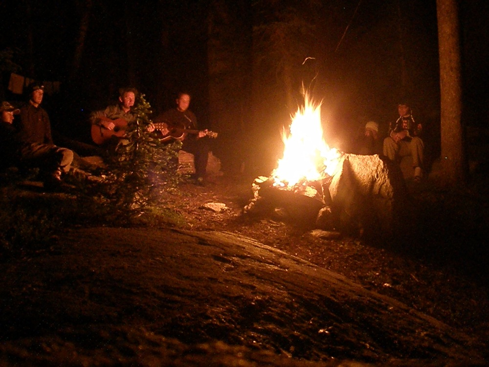 "The Professor, Alces, MSRH, Myself, Mr. Soccer, and Photoman all enjoying White Man Fire while singing ""Light My Fire""."