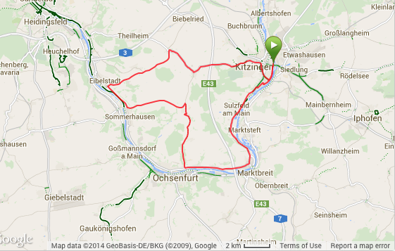 Bike course; more hills than expected, and much more wind.  It did go through Frickenhausen though, so that was fun.